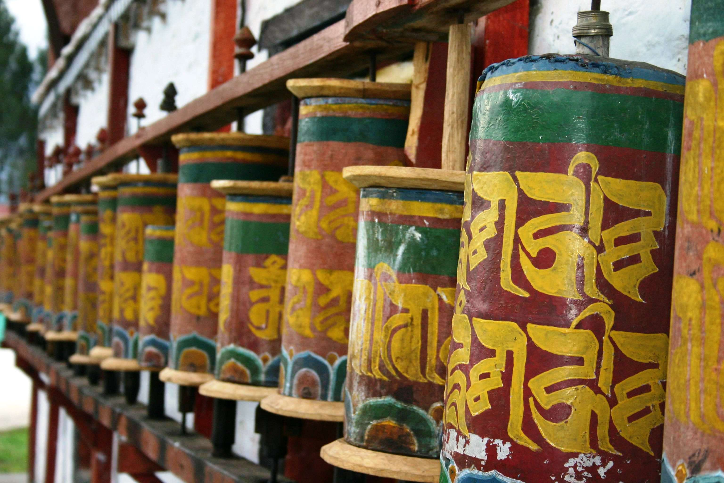 Prayer wheels Tashiding Sikkim West