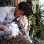 Burning Incense in sacred cave Sikkim