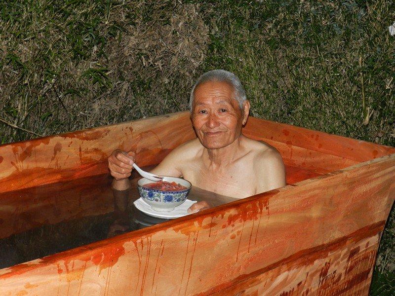 Enjoying Hot Stone Bath with Kowri Soup dok