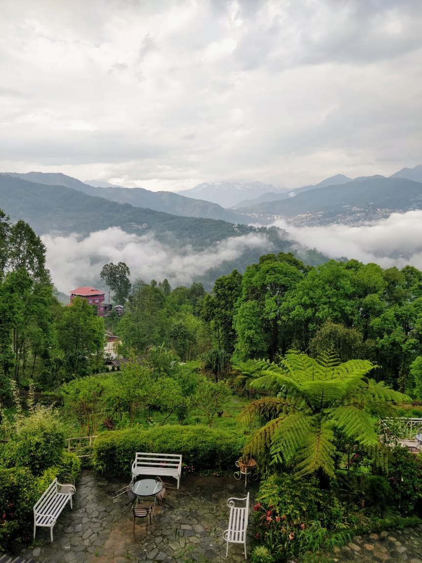 The best place in Sikkim - terrace with a view at Bamboo Retreat Hotel Sikkim, India